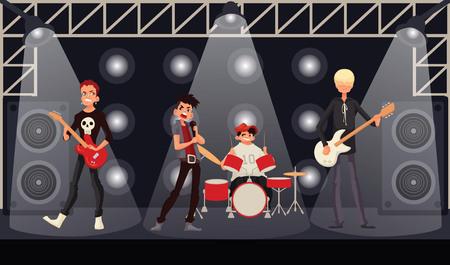 perform performance: Rock band musicians perform on stage, cartoon vector illustration. Rock star singer guitarist drummer bassist. Band performance, rock concert, music festival