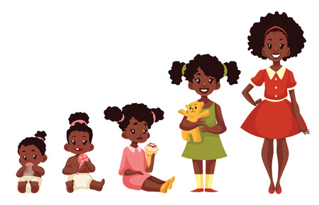 child of school age: Set of black girls from newborn to infant toddler schoolgirl and teenager cartoon vector illustration isolated on white background. African child development from birth to school age
