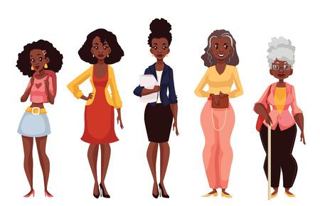 etnia: Conjunto de las mujeres negras de diferentes edades, desde jóvenes adolescencia a la madurez y la vejez, la ilustración vectorial aislados en fondo blanco. Vaus generaciones en las mujeres afroamericanas