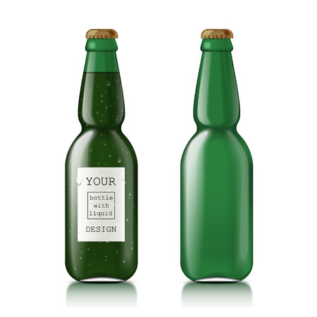 unopened: Realistic glass beer bottles. Set of scalable green glass bottles for beer, soda, water. This clean Mock Up Template Ready For Your Design.  Illustration Isolated On White Background.
