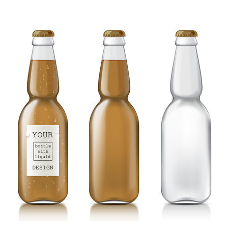Transparent glass beer bottle. Set realistic empty and clean the bottles with liquid - beer, juice, water. Mock Up Sample Ready For Your Design.  Illustration Isolated On White Background. Stock Photo