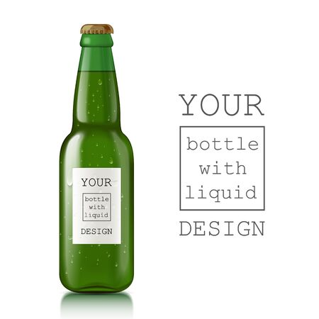 Realistic beer bottle. Glass transparent scalable beer bottle with liquid - beer, water, soda. Template ready for your design. illustration Stock Photo