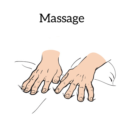 hands to body massage, sketch illustration on white background. Icon concept of medical massage hands. relaxation massage sketch hand-drawn
