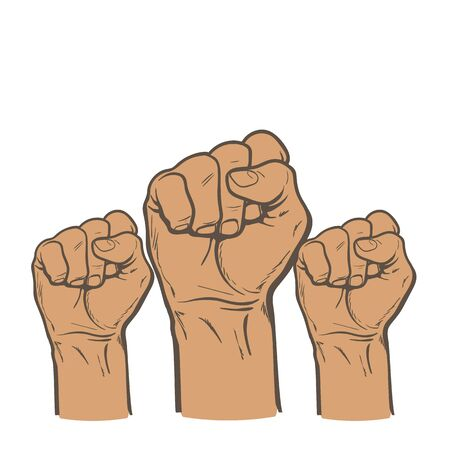 purposefulness: Many a mans fist on a red background. illustration sketch of three human hands raised up, drawn by hand. color art concept of resistance, strength, majority, fight, defending rights of society