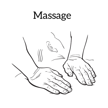 relaxation massage: hands to body massage, sketch illustration on white background. Icon concept of medical massage hands. relaxation massage sketch hand-drawn