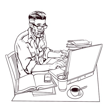 scholar: A hipster man in a jeans jacket sits at a table. Writer, journalist, scholar, student write his work in the computer. Work on the Internet. On the table, a lot paperwork. The process of study. Stock Photo
