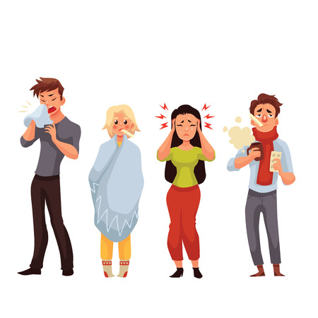 Set of sick people cartoon style vector illustration isolated on white background. People feeling unwell, having cold, seasonal flu, high temperature, running nose, and headache Ilustracja