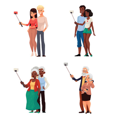 Set of caucasian and dark skinned young and elder couples taking selfie, cartoon style vector illustration. Young and old couples of men and women taking pictures of themselves Stock Vector - 128168832