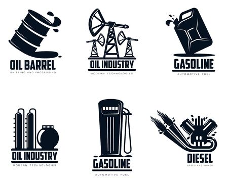 petrol station: set of oil and petrol station, minimalistic illustration isolated on white background, combustion and oil production, transportation of oil and gasoline Stock Photo