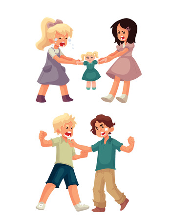 Set of little girls fighting over a doll and boys punching each other, cartoon style vector illustration isolated on white background. Fighting, arguing kids. Children fight