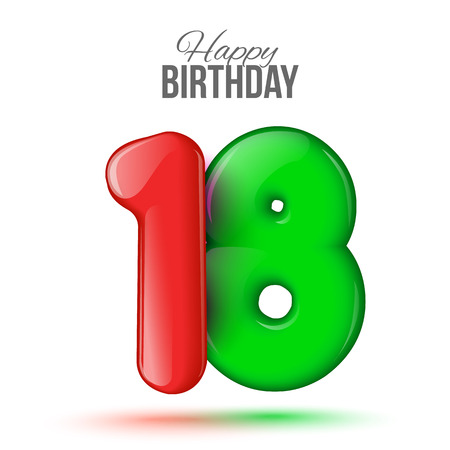 happy birthday 18: Number eighteen, 18 greeting card, 3d number eighteen. The volume figure 18 years. Positive, colorful, figure. illustration. Inflatable green, red eighteen. Sample card. celebrating birthday. Stock Photo