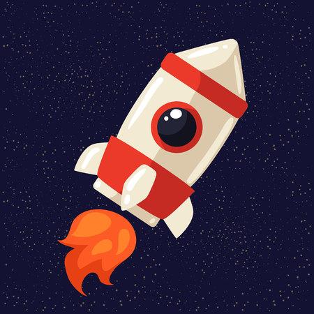 interstellar: Cartoon rocket in open cosmos vector illustration. Retro style spaceship exploring the galaxy, interstellar travelling, shuttle in cosmos illustration