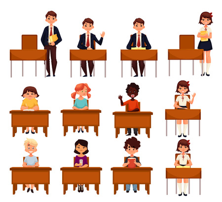 secondary school: Set of school boys and girls sitting at their desks in the classroom cartoon style vector illustration isolated on white background. Diverse students in class, lesson in primary secondary school Illustration