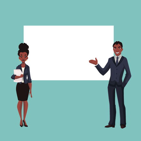 African American businessman and businesswoman holding presentation with white board cartoon style vector illustration isolated on white background. Black business man and woman at presentation Stok Fotoğraf - 60397965