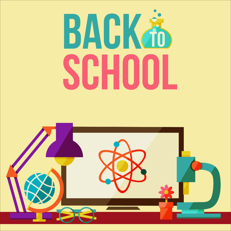Back to school design poster in flat style. table lamp image, flower, globe and a microscope with an inscription Back to school