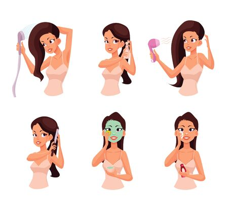 girls night out: Colorful cartoon style illustration of pretty woman doing beauty procedures. Isolated on white background. Face and hair beauty treatments. Routine cosmetic procedures Stock Photo