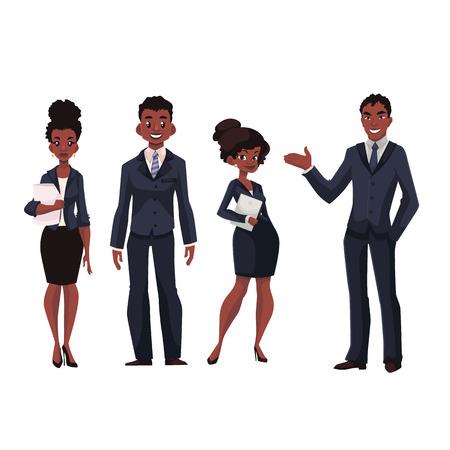 아프리카 계 미국인 기업인과 경제인 만화 벡터 일러스트 레이 션 흰색 배경에 고립. 검은 비즈니스 남성과 여성, 임원 및 비서, 사무실 근로자의 전체  일러스트