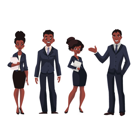 black business men: African American businessmen and businesswomen cartoon vector illustration isolated on white background. Full length portrait of black business men and women, executive and secretary, office workers Illustration