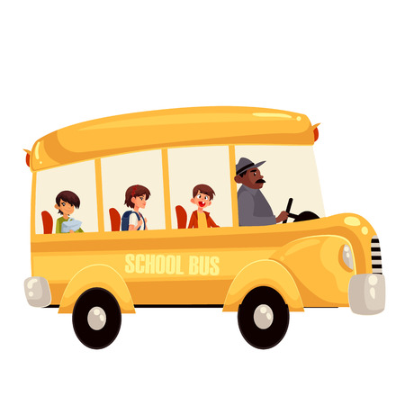 schoolbus: Cartoon vector illustration of happy primary students riding school bus. Traditional yellow schoolbus on the road, driver taking pupils to school trip countryside