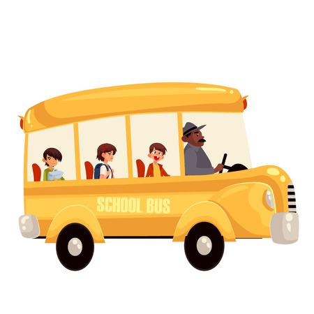 Fumetto illustrazione vettoriale di studenti delle scuole primarie felice che guida scuolabus. scuolabus giallo tradizionale sulla strada, conducente che prende gli alunni a campagna gita scolastica