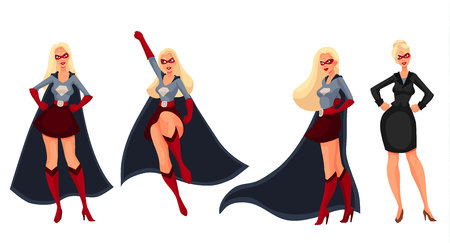 Female superhero cartoon style vector illustration isolated on white background. Set of same woman in business suit and in superhero disguise, super power girl. Business woman as superhero