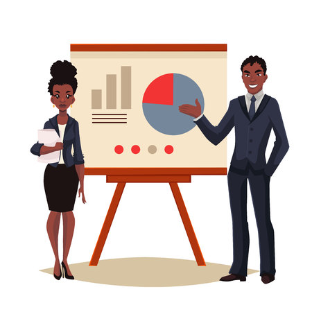 black business man: African American businessman and businesswoman holding presentation with white board cartoon style vector illustration isolated on white background. Black business man and woman at presentation