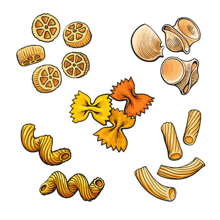 italian pasta: Big collection of italian pasta sketch style vector illustration isolated on white background. Set of shells bow spiral penne fusilli tagliatelle pasta. Different types of italian noodles
