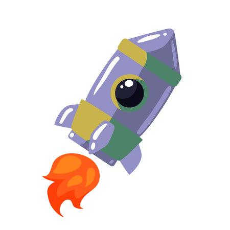 interstellar: Cartoon rocket vector illustration. Retro style spaceship on a white background, interstellar travelling, shuttle illustration