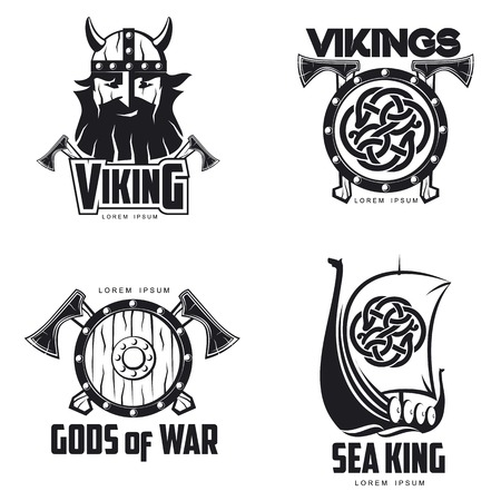 norseman: Scandinavian Viking set , illustration outline isolated on white background. set of  Viking shield Scandinavian boat and head.