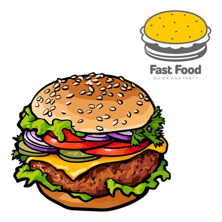 fastfood: tasty burger with sketch illustration. logo isolated on white background, sketch tasty and juicy hamburger close-up with a chop, cheese and vegetables isolated. for fast-food cafe