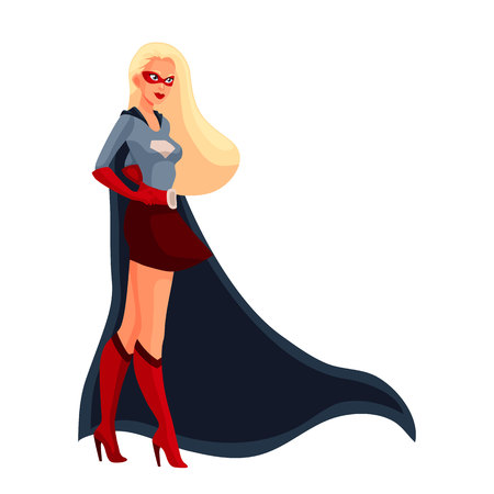 superheroine: Female superhero cartoon style vector illustration isolated on white background. woman in business suit and in superhero disguise, super power girl. Business woman as superhero