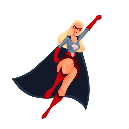 Female superhero cartoon style vector illustration isolated on white background. woman in business suit and in superhero disguise, super power girl. Business woman as superhero