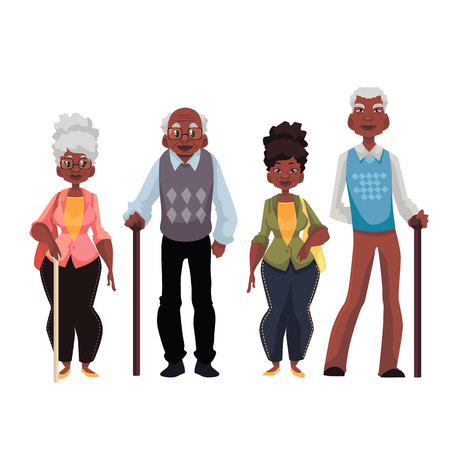African American old men and woman cartoon style vector illustration isolated on white background. Set of full length male and female portraits of black senior citizens pensioners elder people Vetores