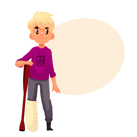 Little boy with a broken leg and a crutch, cartoon style vector illustration isolated on white background. Cute blond kid with a plastered leg standing and resting on a crutch Illustration