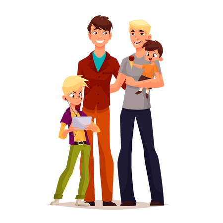 family gay men with children, illustration comic cartoon isolated on a white background, gay couple to adopt children happy family and a free gay men, a pair of men, adoption of children Stock Photo