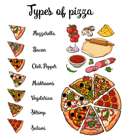 pizza ingredients: Set of various types of pizza and pizza ingredients, sketch style illustration isolated on white background. Basic ingredients and slices of freshly baked mozzarella mushroom vegetarian pizza