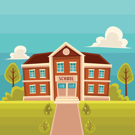 brick road: School building cartoon illustration on landscape background. Front view of entrance to classical red brick school building road trees and lawn Stock Photo