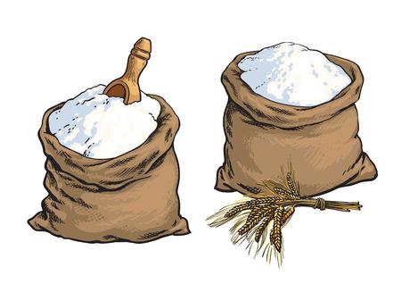 Volkoren broodmeel zakken met houten lepel en tarwe oren, schets stijl illustratie op een witte achtergrond. Set van twee tarwebrood meelzakken