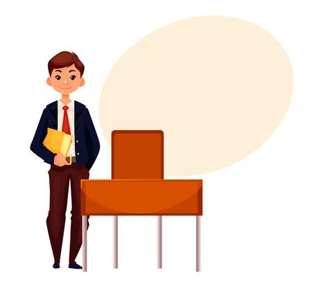 El muchacho de escuela sonriente que se coloca en el escritorio y la celebración de una ilustración vectorial libro, estilo de dibujos animados aislado en el fondo blanco. niño bonito en uniforme escolar y una burbuja de texto Vectores