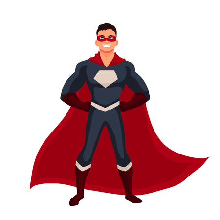 Male superhero cartoon style vector illustration isolated on white background. man in casual suit and in superhero disguise, super power man. Ordinary person as superhero concept Illustration