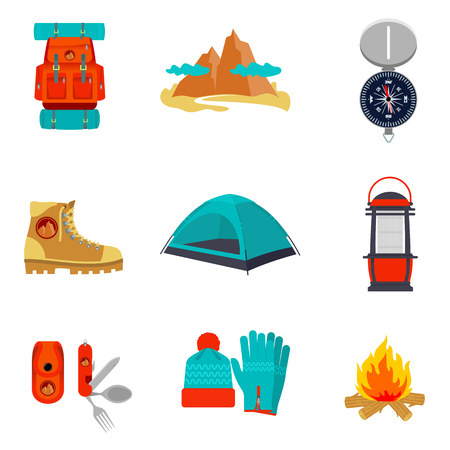 Set of camping equipment icons and symbols, sketch style vector illustration isolated on white background. Backpack tent compass lantern hiking boots fire pocket knife hat and gloves Ilustração