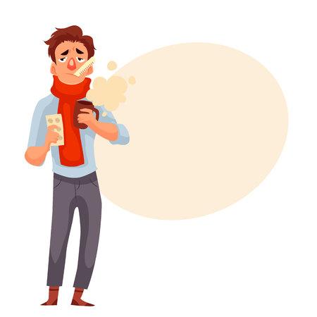 Giovane che ha un freddo, i farmaci in possesso e una tazza, illustrazione vettoriale stile cartoon isolato su sfondo bianco. Un ragazzo in sciarpa rossa con il termometro in bocca, la stagione influenzale invernale Archivio Fotografico - 60396345