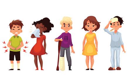 varicela: Conjunto de ilustración vectorial estilo de dibujos animados los niños enfermos aislados sobre fondo blanco. Los niños, los niños y niñas, teniendo, la nariz fría, dolor de estómago, pierna rota y la varicela Vectores