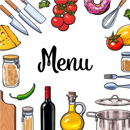 Square vegetable, kitchenware cheese and pasta menu design, sketch style illustration isolated on white background. Colorful menu banner template with ingredients utensils for Italian cuisine