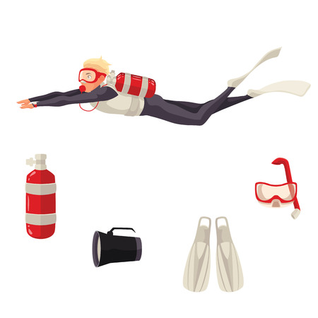 necessities: Scuba diving equipment, cartoon illustration isolated on white background. Diver and diving necessities goggles, oxygen tank flippers flashlight. Underwater sport scuba snorkeling equipment