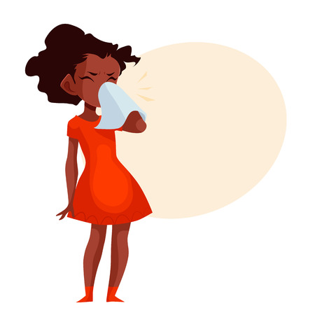 running nose: Little african american girl blowing her nose, cartoon style vector illustration isolated on white background. Beautiful black skinned girl having cold, seasonal flu running nose, feeling unwell Illustration
