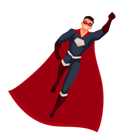 disguise: Male superhero cartoon style vector illustration isolated on white background. man in casual suit and in superhero disguise, super power man. Ordinary person as superhero concept Illustration