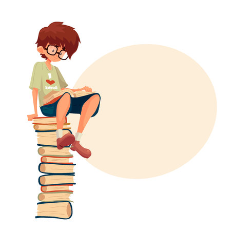 Little brown haired boy in glasses sitting on a pile of books and reading, cartoon style vector illustration isolated on white background. Smart kid, school nerd reading a book. Library, Illustration