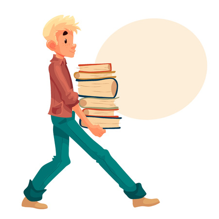 child boy: Boy carrying a pile of books, cartoon style vector illustration isolated on white background. Blond boy child kid holding a heavy stack of books, studying concept