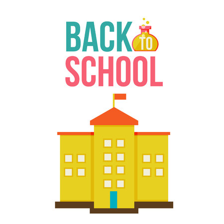 schoolhouse: Back to school poster with yellow school building, flat style vector illustration isolated on white background. Start of school season poster card design with traditional schoolhouse